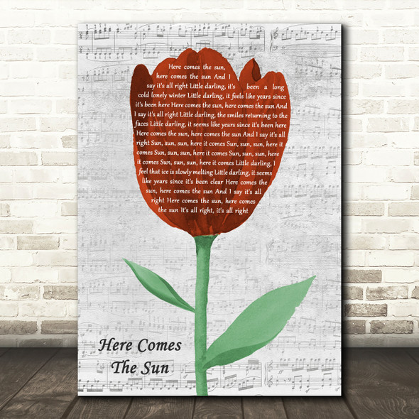 The Beatles Here Comes The Sun Grey Script Watercolour Tulip Song Lyric Print