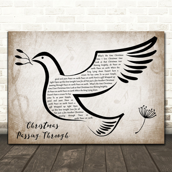 The Roches Christmas Passing Through Vintage Dove Bird Decorative Gift Song Lyric Print