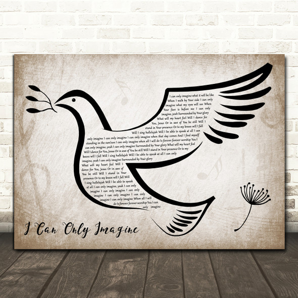 MercyMe I Can Only Imagine Vintage Dove Bird Decorative Wall Art Gift Song Lyric Print