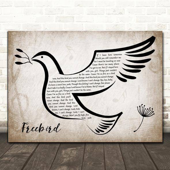 Lynyrd Skynyrd Freebird Vintage Dove Bird Decorative Wall Art Gift Song Lyric Print