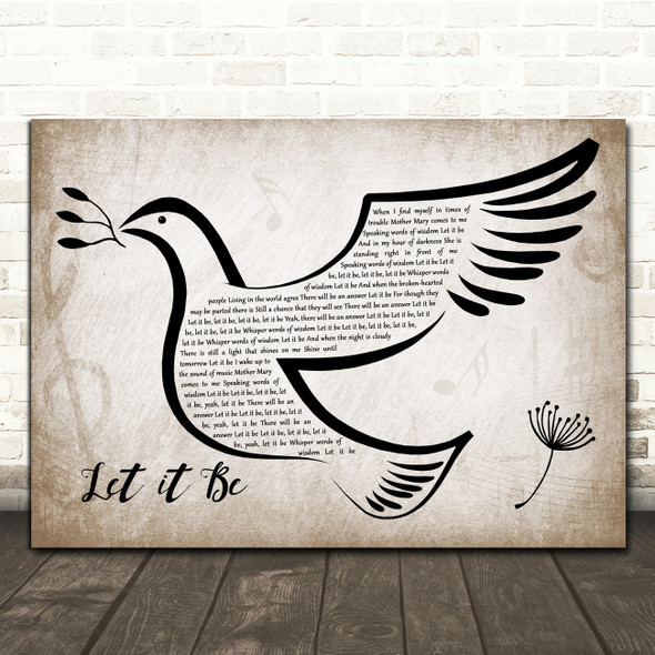 The Beatles Let It Be Vintage Dove Bird Decorative Wall Art Gift Song Lyric Print