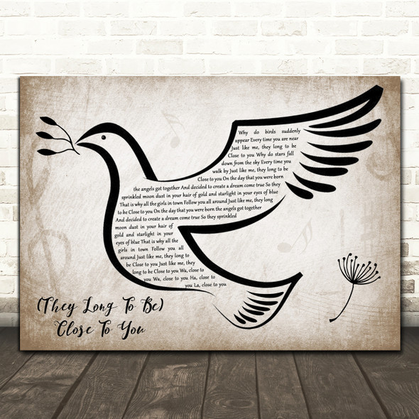 Carpenters (They Long to Be) Close to You Vintage Dove Bird Song Lyric Print