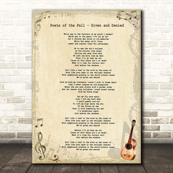 Poets of the Fall Given and Denied Vintage Guitar Decorative Wall Art Gift Song Lyric Print