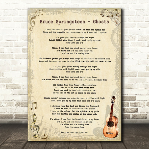 Bruce Springsteen Ghosts Vintage Guitar Decorative Wall Art Gift Song Lyric Print