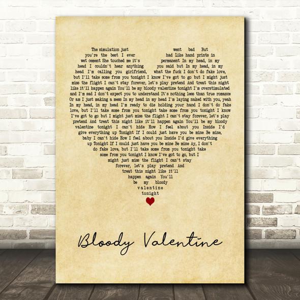Machine Gun Kelly Bloody Valentine] Vintage Heart Decorative Wall Art Gift Song Lyric Print