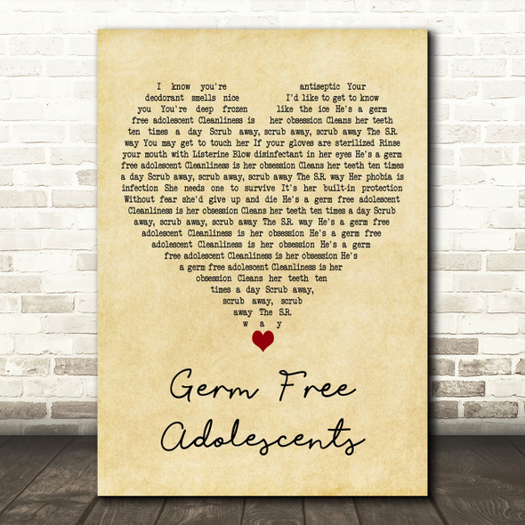 X-Ray Spex Germ Free Adolescents Vintage Heart Decorative Wall Art Gift Song Lyric Print