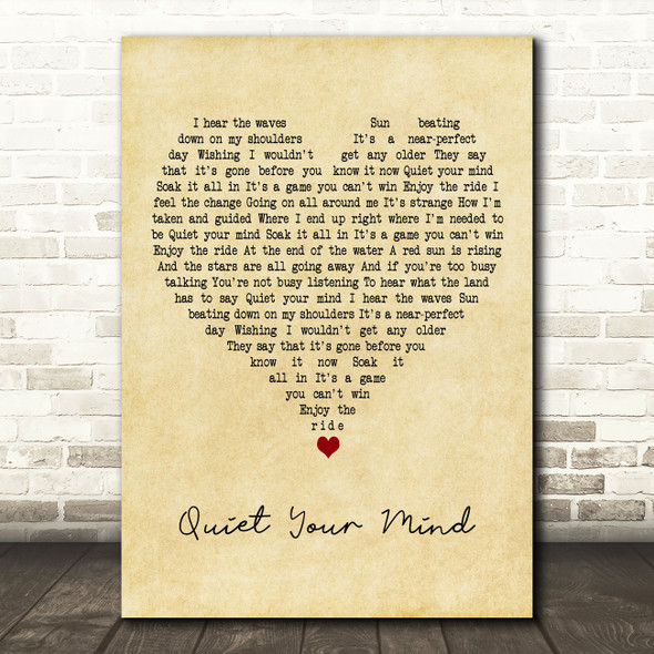 Zac Brown Band Quiet Your Mind Vintage Heart Decorative Wall Art Gift Song Lyric Print