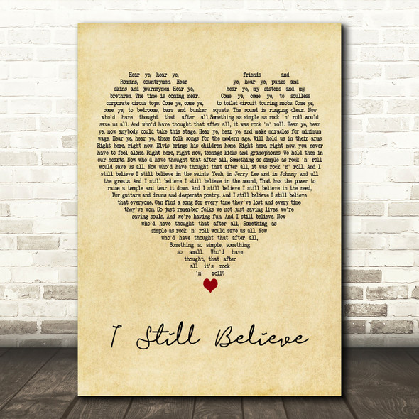 Frank Turner I Still Believe Vintage Heart Decorative Wall Art Gift Song Lyric Print