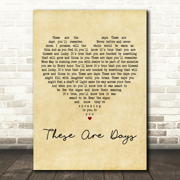 10000 Maniacs These Are Days Vintage Heart Decorative Wall Art Gift Song Lyric Print