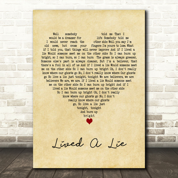 You Me At Six Lived A Lie Vintage Heart Decorative Wall Art Gift Song Lyric Print
