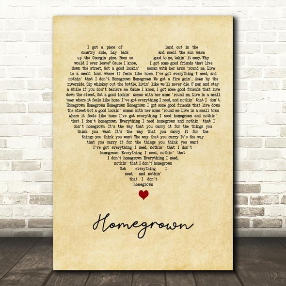 Zac Brown Band Homegrown Vintage Heart Decorative Wall Art Gift Song Lyric Print