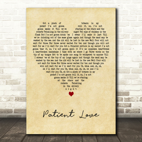 Passenger Patient Love Vintage Heart Decorative Wall Art Gift Song Lyric Print
