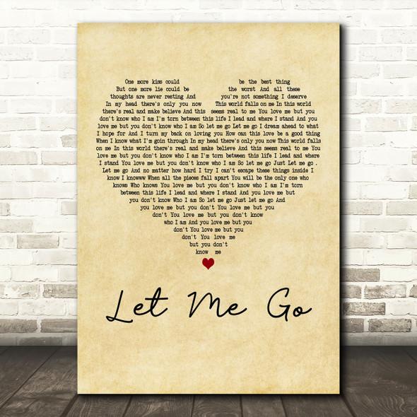 3 Doors Down Let Me Go Vintage Heart Decorative Wall Art Gift Song Lyric Print