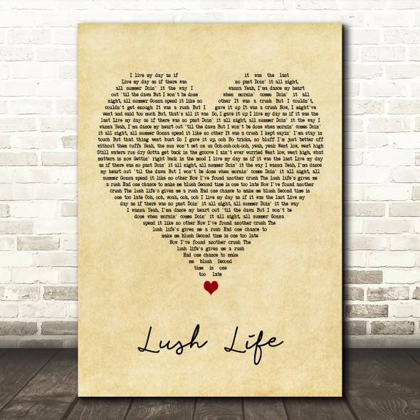 Zara Larsson Lush Life Vintage Heart Decorative Wall Art Gift Song Lyric Print