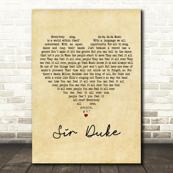 Stevie Wonder Sir Duke Vintage Heart Decorative Wall Art Gift Song Lyric Print