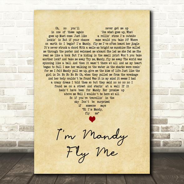 10cc I'm Mandy Fly Me Vintage Heart Decorative Wall Art Gift Song Lyric Print