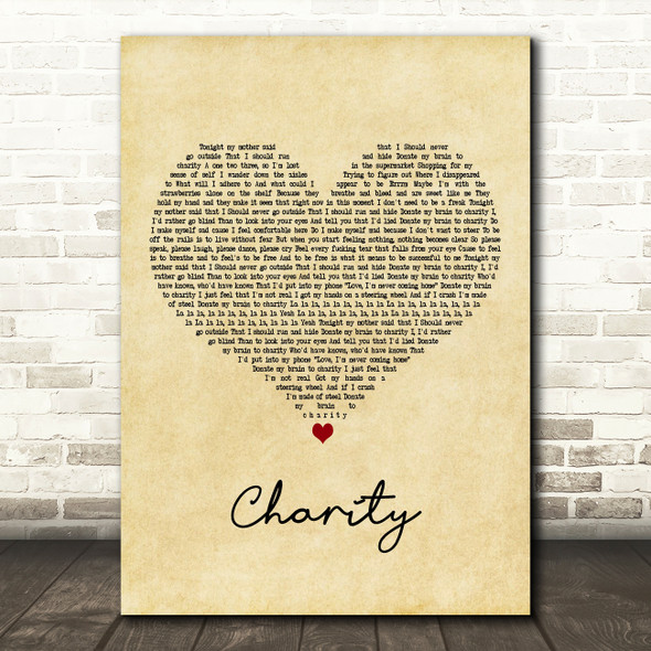 YUNGBLUD charity Vintage Heart Decorative Wall Art Gift Song Lyric Print