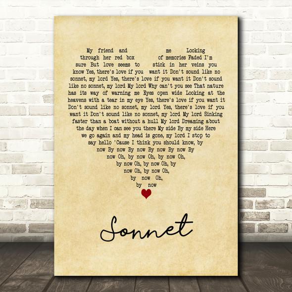The Verve Sonnet Vintage Heart Decorative Wall Art Gift Song Lyric Print