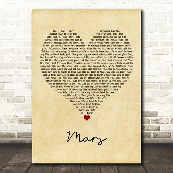 YUNGBLUD Mars Vintage Heart Decorative Wall Art Gift Song Lyric Print