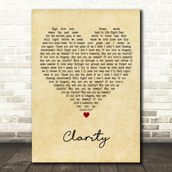 Zedd Clarity Vintage Heart Decorative Wall Art Gift Song Lyric Print