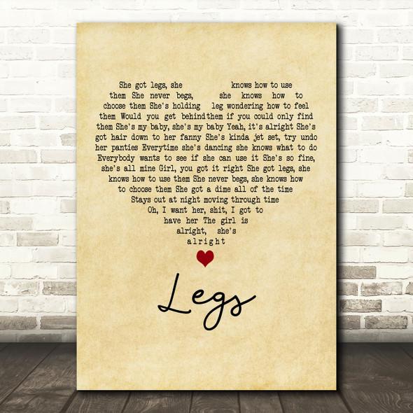 ZZ Top Legs Vintage Heart Decorative Wall Art Gift Song Lyric Print
