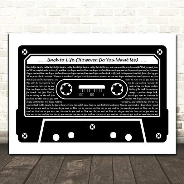 Soul II Soul Back to Life (However Do You Want Me) Black & White Music Cassette Tape Song Lyric Print