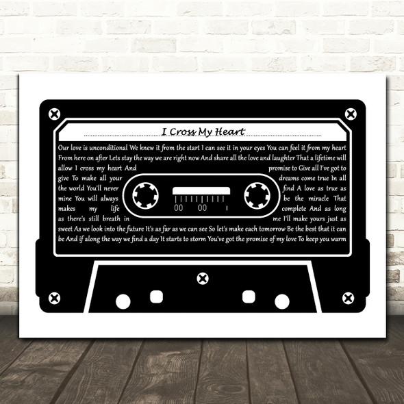 George Strait I Cross My Heart Black & White Music Cassette Tape Wall Art Gift Song Lyric Print