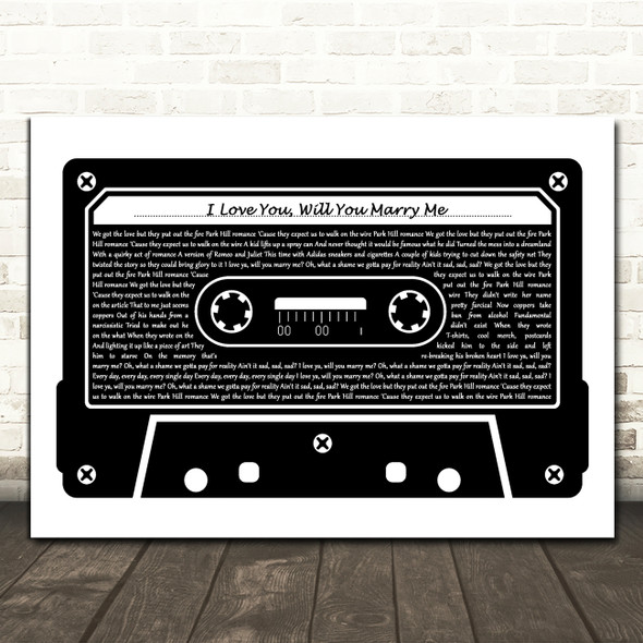 Yungblud I Love You, Will You Marry Me Black & White Music Cassette Tape Song Lyric Print