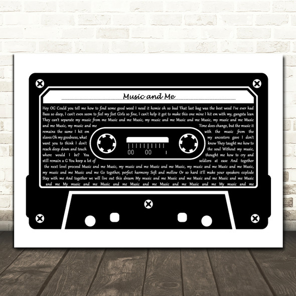 Nate Dogg Music and Me Black & White Music Cassette Tape Decorative Gift Song Lyric Print