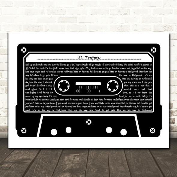 J. Cole St. Tropez Black & White Music Cassette Tape Decorative Gift Song Lyric Print