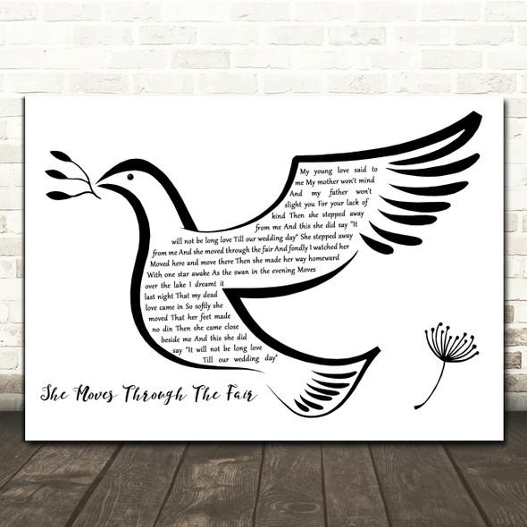 Paddy Tunney She Moves Through The Fair Black & White Dove Bird Wall Art Gift Song Lyric Print