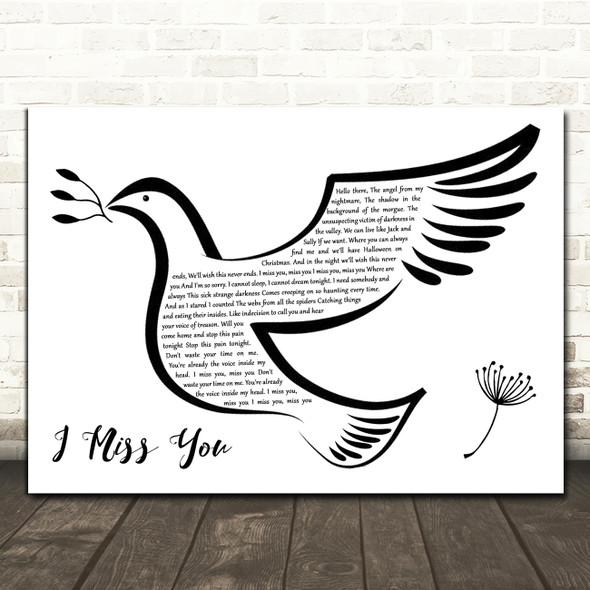 Blink-182 I Miss You Black & White Dove Bird Decorative Wall Art Gift Song Lyric Print
