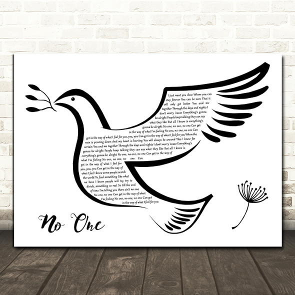 Alicia Keys No One Black & White Dove Bird Decorative Wall Art Gift Song Lyric Print