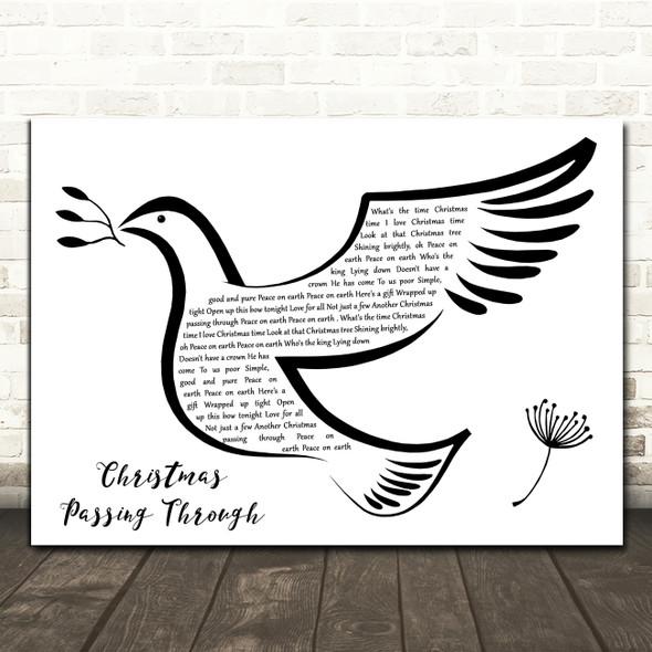 The Roches Christmas Passing Through Black & White Dove Bird Song Lyric Print