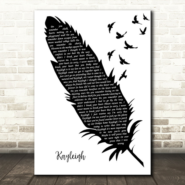 Marillion Kayleigh Black & White Feather & Birds Decorative Wall Art Gift Song Lyric Print