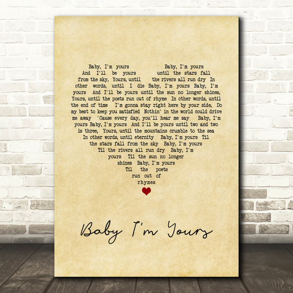 Arctic Monkeys Baby I'm Yours Vintage Heart Song Lyric Quote Print