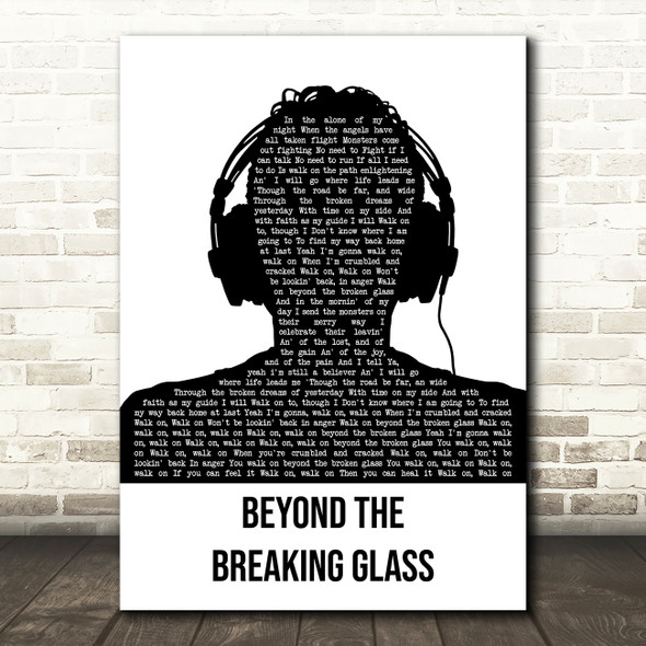 Hazel O'Connor Beyond The Breaking Glass Black & White Man Headphones Wall Art Song Lyric Print
