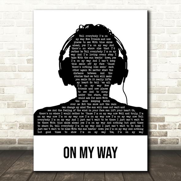 Phil Collins On My Way Black & White Man Headphones Decorative Wall Art Gift Song Lyric Print