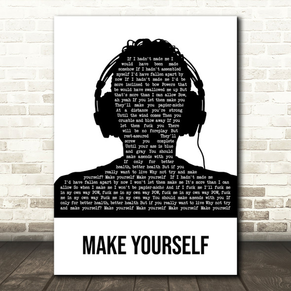 Incubus Make Yourself Black & White Man Headphones Decorative Gift Song Lyric Print