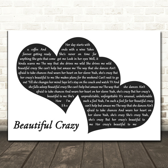 Luke Combs Beautiful Crazy Landscape Black & White Two Hearts Wall Art Song Lyric Print