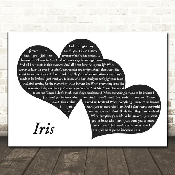 Goo Goo Dolls Iris Landscape Black & White Two Hearts Decorative Gift Song Lyric Print