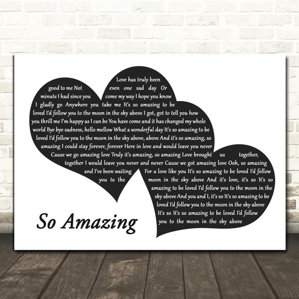 Luther Vandross So Amazing Landscape Black & White Two Hearts Song Lyric Print