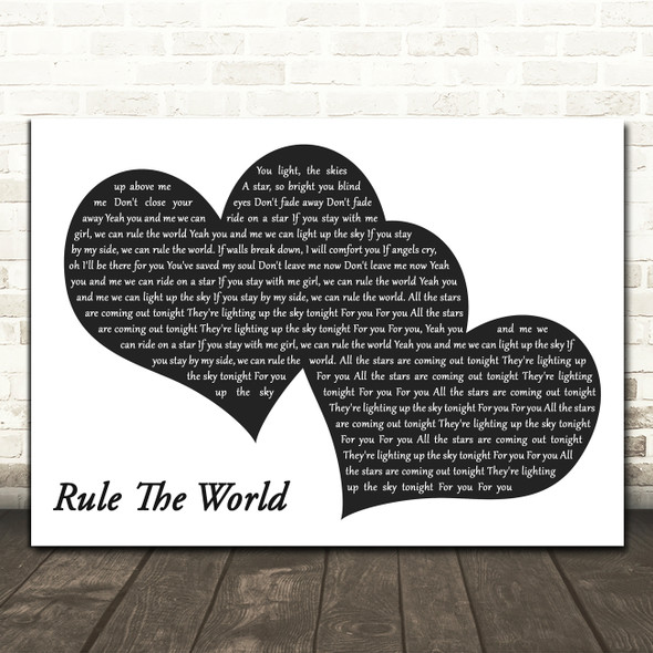 Take That Rule The World Landscape Black & White Two Hearts Song Lyric Print