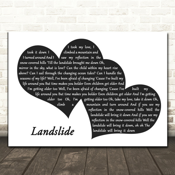 Fleetwood Mac Landslide Landscape Black & White Two Hearts Song Lyric Print