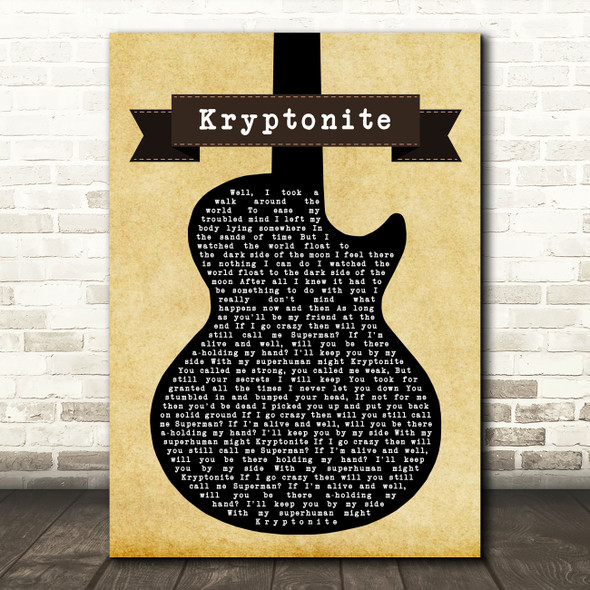 3 Doors Down Kryptonite Black Guitar Decorative Wall Art Gift Song Lyric Print