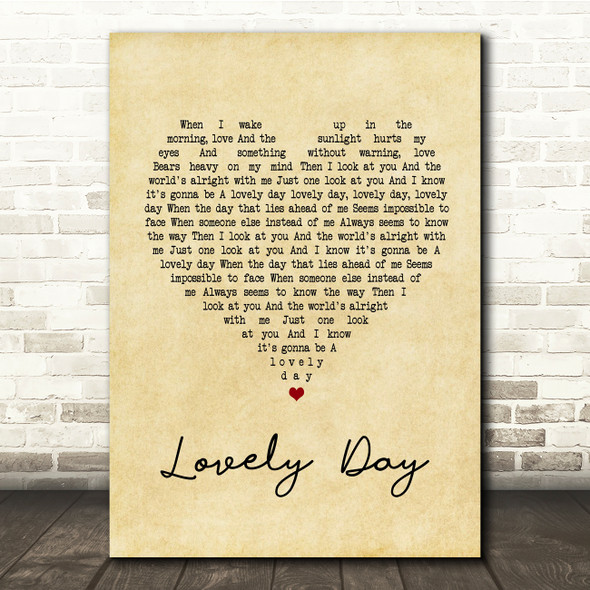 Bill Withers Lovely Day Vintage Heart Song Lyric Quote Print