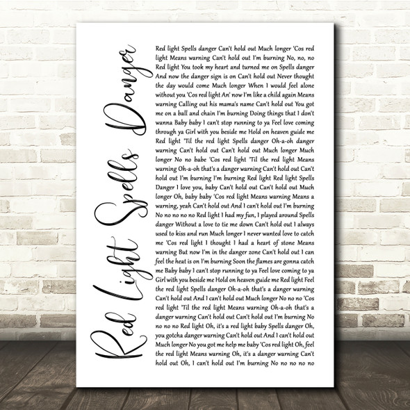 Billy Ocean Red Light Spells Danger White Script Song Lyric Quote Print