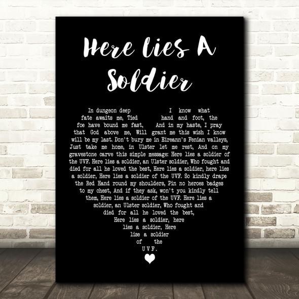 Wolfe Tones Here Lies A Soldier Black Heart Decorative Wall Art Gift Song Lyric Print