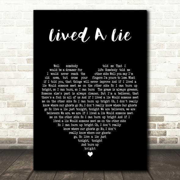 You Me At Six Lived A Lie Black Heart Decorative Wall Art Gift Song Lyric Print