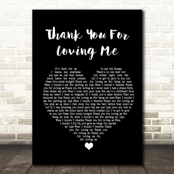 Bon Jovi Thank You For Loving Me Black Heart Song Lyric Quote Print